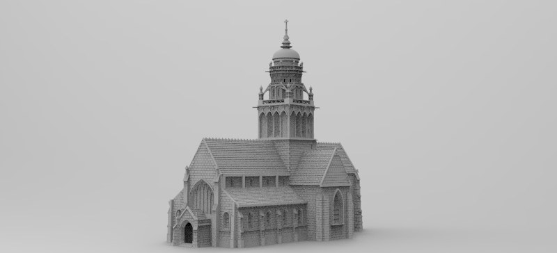 Church of Sainte Marie Du Mont, Church plus dmamged tower alternative